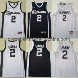 Academie 2 Gianna Bryant Black White Basketball Jerseys van de Sporten van Washington Huskies Mamba