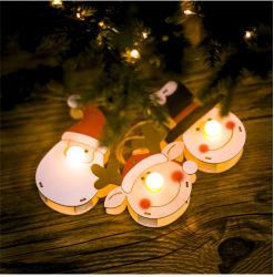 2020 Decoração de Natal Pintura cor de madeira boneco de iluminação criativa Cabeça Santa Claus ornamento de árvore de cabeça
