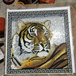 Mosaic الرخام اليدوي الصنع النمر لوحة الرخام الطبيعي Mosaic الجدار الفن غرفة معيشة وحمام