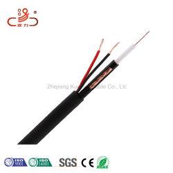 Cable coaxial RG59+2c Cable de alimentación cable CATV CCTV Cable de cobre de RG6 Siameses de alambre de cobre del cable coaxial