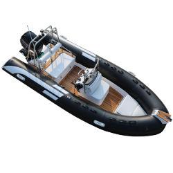 Hot Vendre la nervure 480cm bateau gonflable Hypalon Vitesse du bateau de pêche Bateau Bateau de la famille avec plancher de bois de teck
