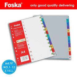 Foska ملف مقسّم من البلاستيك مقاس A4 بجودة جيدة