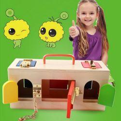 Деревянные Монтессори практических мало запираемый ящик DIY игрушка в области образования для детей