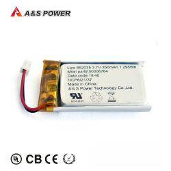 UL/CB/Kc/Un38.3/MSDS aprovado 552035 3.7V 350mAh bateria de polímero de lítio