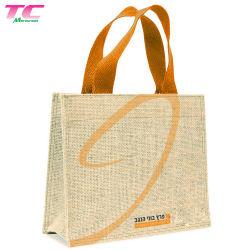 Grande sacchetto di Tote di tela di pubblicità della iuta della tela da imballaggio di acquisto del sacchetto dell'iuta su ordinazione Hessian della canapa con il marchio stampato