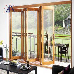 Luxe ontwerp dubbele beglazing Aluminium houtnerf samengestelde vouwdeur Voor Villa