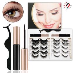 Commerce de gros liquide magnétique Eyeliner 10 paires mixtes de faux cils ensemble Glue-Free magnétique