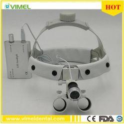 2.5X Loupe optique dentaire dentiste Chirurgie loupe binoculaire Loupe avec LED