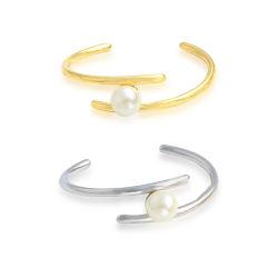 Braccialetto del braccialetto del polsino della perla dell'acciaio inossidabile dei monili di modo delle donne