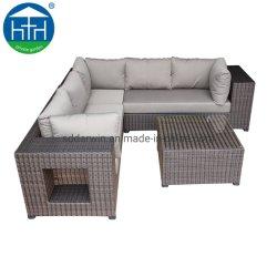 Seccional moderno jardín PE Rattan Sofá Lounge en el marco de aluminio
