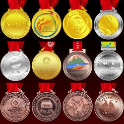 Preiswertes kundenspezifisches Firmenzeichen-Trophäe-Schlüssel-Fiesta-Preis-Goldmetallmilitärjudotaekwondo-Fußball-Laufring-Marathon-laufende Karate-Sport-Medaille des Andenken-Decklack-3D keine minimale Ordnung