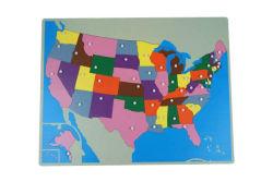 USA Map деревянные головоломки (45 шт.) , Монтессори головоломки карты