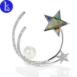 La Chine de gros en plaqué or 24K Real pentagramme Brooch Bijoux