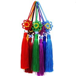 ソース工場卸売のカスタム中国の結び目のふさ、絹のふさのペンダント、ふさを作る宝石類