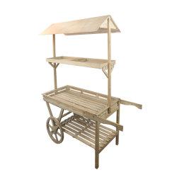 عربة تزيين حديقة خارجية من 3 طبقات من Firwood مع سقف DIY و اللوحات