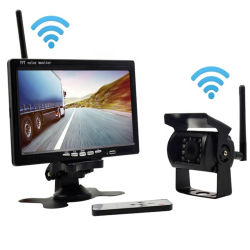 Universal 7 Pulgadas 2.4G copia de seguridad inalámbrica Rearviw Coche de alquiler de ayudas de la cámara de marcha atrás