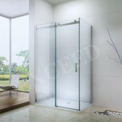 サニタリーバスルームは、 1,200 mm のスライド式シャワールーム、調節可能なシャワードアが備わっている シャワーエンクロージャ (EX802N)