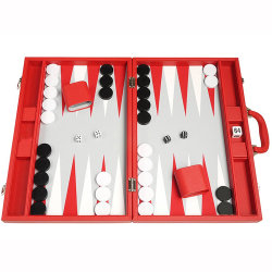 가죽 상자에 있는 열성적인 빨강 폴딩 여행 주사위 놀이판 게임