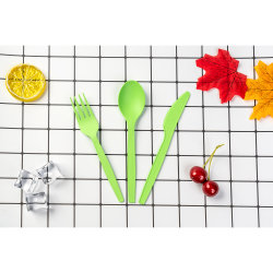 중국에서 도매 생물 분해성 Compostable 6 인치 및 6.5 인치 PLA 퇴비 칼붙이 식기류 숟가락