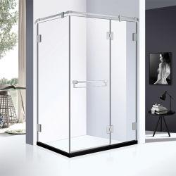 El cuarto de baño 12mm Cristal cabina de ducha rectangular con acabado cromado