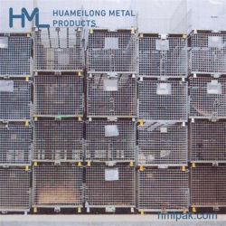 Soldado dobrável depósito galvanizado o transporte de armazenamento do fio de metal Cesto de malha