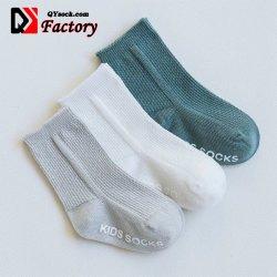 Sólido de alta calidad cómoda de algodón suave costilla Infante Non-Slip Calcetines Bebé