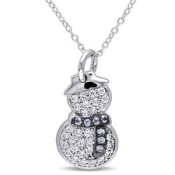 Crystal beaux bijoux 925 Sterling Silver Snowmen Pendnats