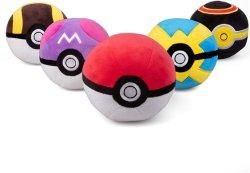 Poké Monom Poké Ball Plush 5-Pack - include Poke, Master, Ultra, Quick, Luxury Ball - sfere Poké con bottoni morbidi e zavorrati