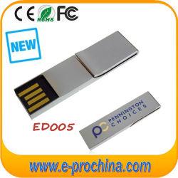 طراز محرك أقراص USB محمول معدني ثابت مع ملاحظة معدنية/مشبك ورق (ED005)