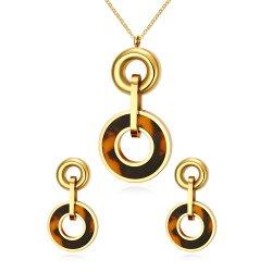 La Joyería de Piedra turquesa con collar de oro IP + pendientes
