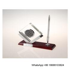 펜 홀더 크리스털 클럭 시계