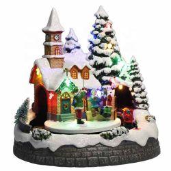 熱い販売法の休日の装飾のPolyresin動きが付いている音楽的なLEDによって照らされるNoel Xmas場面クリスマスの村