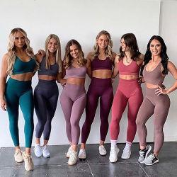 Yoga sin fisuras, se establece para la mujer traje de Gimnasia Deportes de tejidos de costuras de color puro empuje Leggings Camiseta sin mangas