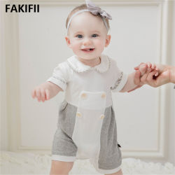 2021枚の方法ブランドの最も新しい高品質の赤ん坊の夏のロンパースは袖の綿の新生の赤ん坊の男女兼用のロンパースをショートさせる