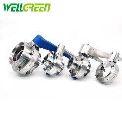 스테인리스 스틸 위생 수/유니온 엔드 버터플라이 밸브