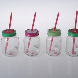 Venda por grosso de alta qualidade potável Personalizado Vidro Recipientes Mason Jar define com Metal tampa roscada e palha