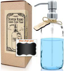 스테인리스 압박 뚜껑을%s 가진 현대 유리제 액체 손 비누 분배기