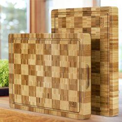Caliente de venta personalizada de bambú de grano final tabla de cortar con zumo de gran espesor de la ranura del bloque de picado de la cocina los alimentos de la Junta de carnicero