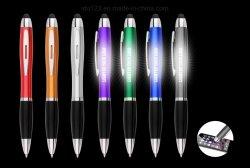 접촉 스크린은 선전용을%s 로고 볼펜 문구용품 첨필 펜 LED Laser 로고 펜을 불이 켜진다