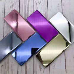 Luxe personnalisé Smart Flip téléphone miroir de l'affaire pour Samsung Galaxy S21 S20 S10 S9 S8 A81 Clear View Stand Flip téléphone en cuir cas