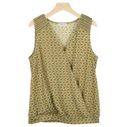S21 سيدات ليداتي يحزقن من ورق بوليستر المطبوع بدون أكمام قميص