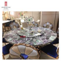 6 Seater klassische Luxuxlandhaus-Weiß-halb kostbarer Stein-purpurrote grüne Fluorit-Kücherunde Countertops