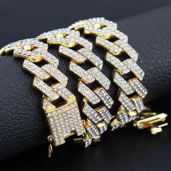Gefrorene heraus der Zinke-Einstellungrhinestones-20mm Miami kubanische Zeilen kubanische Halskette Bling Bling Hip Hop Rapper-Schmucksachen Link-des Chain-3