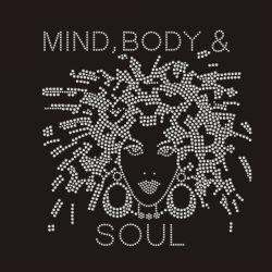 Mente corpo Soul Afro Lady Transfer Motif Iron On Hot Fixe o rhinestone dos designs