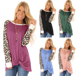 Новый стиль женщин Leopard печатать длинные втулки T кофта дамы повседневной верхней части