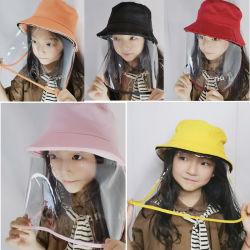 Los niños al por mayor de la sombrilla de la cuchara desmontable con tapa sombrero protector facial Cartoon escudo protector de seguridad reutilizables.