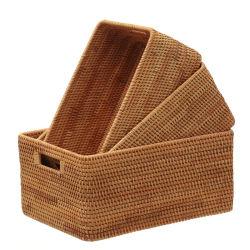 Eco-Friendly 3 Pedaços de conjuntos da cesta de vime com alça de soluções para uso doméstico