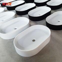 Dunkles graues Badezimmer-festes Oberflächenwäsche-Bassin-Vierecks-Badezimmer-Gesichts-Bassin