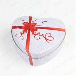 Hot Sale Wedding Candy Tin Tin Boîte cases forme de coeur pour les Cookies