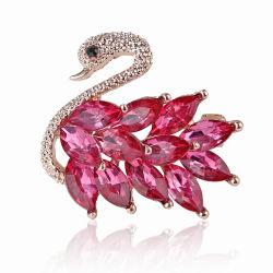 Superstarer の方法は美しい合金の水晶白鳥 Brooch ピンの衣類の付属品を作る